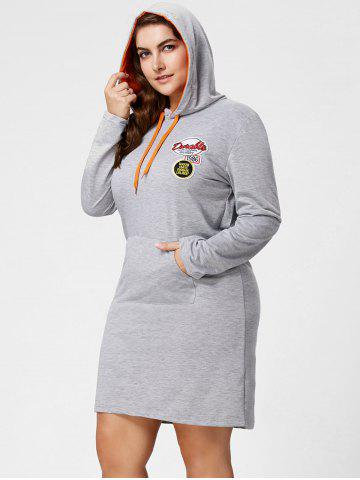 Sale Plus Size Front Pocket Sweatshirt Dress with Hooded - 3XL GRAY Mobile