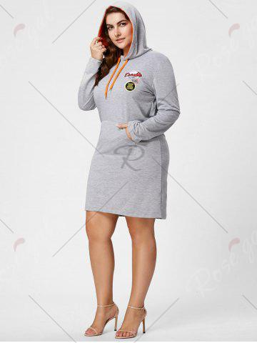 Hot Plus Size Front Pocket Sweatshirt Dress with Hooded - 3XL GRAY Mobile
