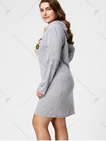 Discount Plus Size Front Pocket Sweatshirt Dress with Hooded - 3XL GRAY Mobile