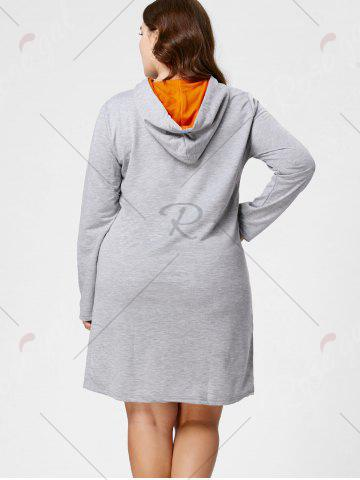 Outfits Plus Size Front Pocket Sweatshirt Dress with Hooded - 3XL GRAY Mobile
