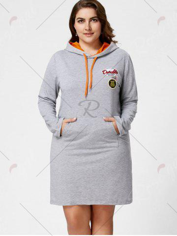 Chic Plus Size Front Pocket Sweatshirt Dress with Hooded - 3XL GRAY Mobile