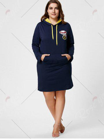 Outfit Plus Size Front Pocket Sweatshirt Dress with Hooded - 5XL DEEP BLUE Mobile