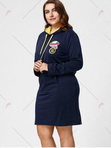 Fashion Plus Size Front Pocket Sweatshirt Dress with Hooded - 5XL DEEP BLUE Mobile