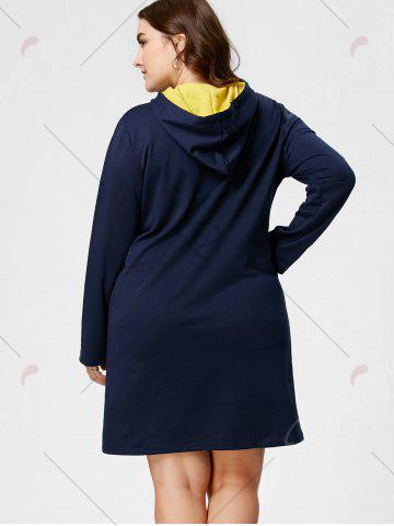 Cheap Plus Size Front Pocket Sweatshirt Dress with Hooded - 5XL DEEP BLUE Mobile