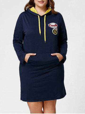 Outfits Plus Size Front Pocket Sweatshirt Dress with Hooded - 5XL DEEP BLUE Mobile