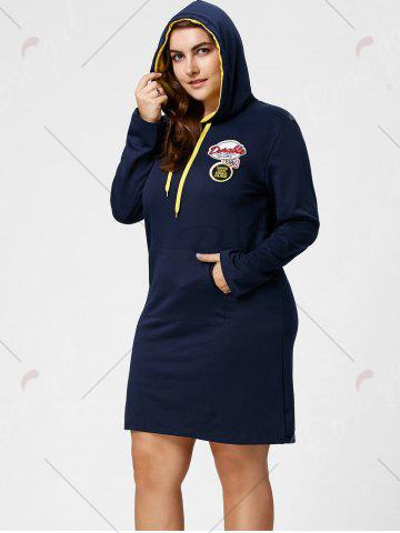 Hot Plus Size Front Pocket Sweatshirt Dress with Hooded - 5XL DEEP BLUE Mobile