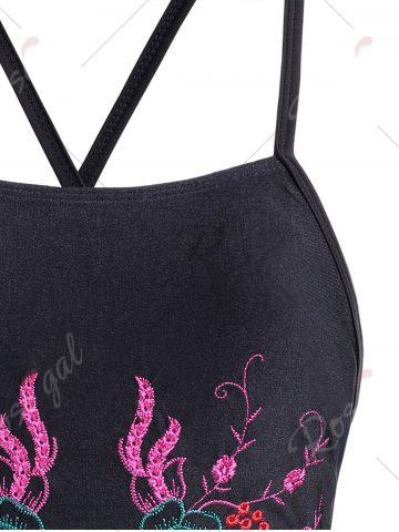 Cheap Cross Back Embroidered Plus Size Swimsuit - 3XL BLACK Mobile