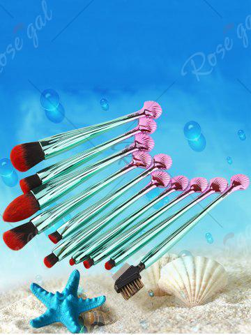 Fashion 10Pcs Shell Shape Multifunction Gradient Color Brushes Set - BLACK AND GREEN  Mobile