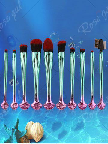 Cheap 10Pcs Shell Shape Multifunction Gradient Color Brushes Set - BLACK AND GREEN  Mobile