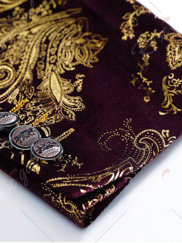 Discount Single Breasted Floral Gilding Blazer - 48 WINE RED Mobile