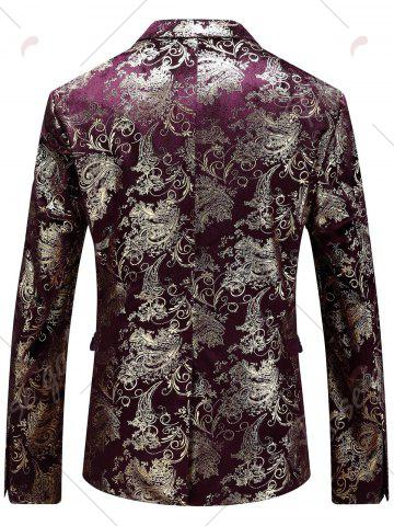 Store Single Breasted Floral Gilding Blazer - 48 WINE RED Mobile
