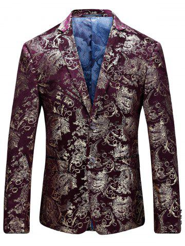 Best Single Breasted Floral Gilding Blazer WINE RED 52