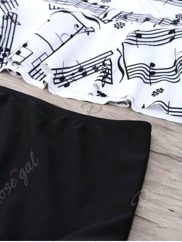 Outfit Musical Notes Flounce Peplum Tankini Set - S WHITE AND BLACK Mobile