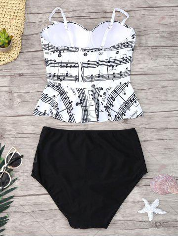 Unique Musical Notes Flounce Peplum Tankini Set - S WHITE AND BLACK Mobile