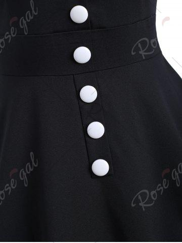Trendy Contrast Buttons Vintage Swing Dress - S BLACK Mobile