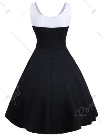 Sale Contrast Buttons Vintage Swing Dress - S BLACK Mobile