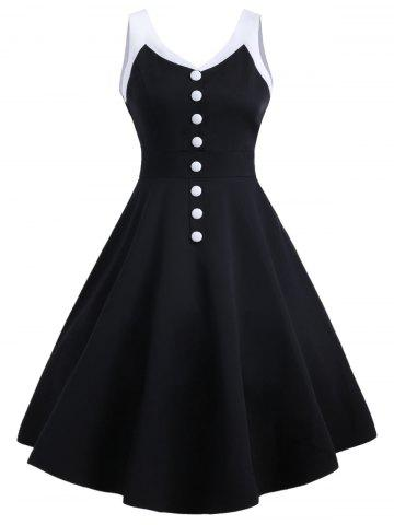 Cheap Contrast Buttons Vintage Swing Dress - S BLACK Mobile
