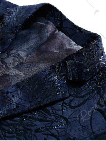 Online Single Breasted Abstract Printed Blazer - 48 PURPLISH BLUE Mobile
