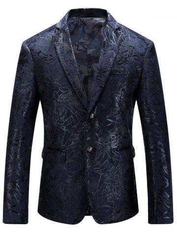 Single Breasted Abstract Printed Blazer - Purplish Blue - 54