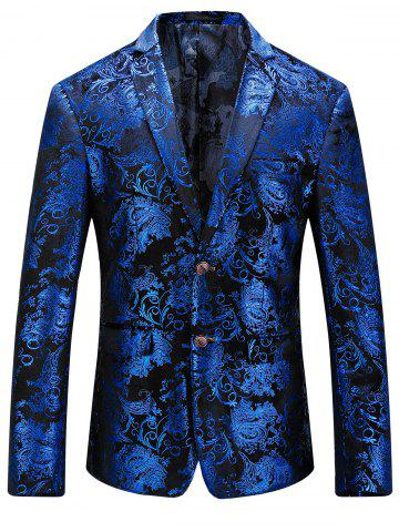 Store Single Breasted Floral Gilding Blazer ROYAL 56
