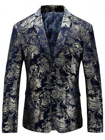 Chic Single Breasted Floral Gilding Blazer PURPLISH BLUE 52