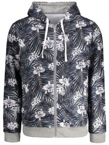 Discount Zip Up Tropical Floral Print Hoodie - M FLORAL Mobile
