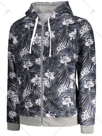 Outfits Zip Up Tropical Floral Print Hoodie - M FLORAL Mobile