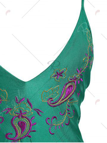 Trendy Embroidered Crossback Plus Size Swimsuit - 4XL GREEN Mobile