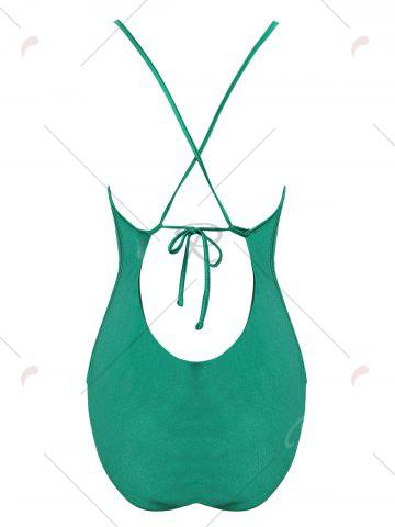 Sale Embroidered Crossback Plus Size Swimsuit - 3XL GREEN Mobile