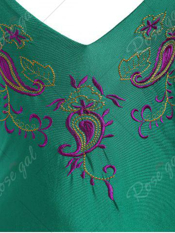 Outfit Embroidered Crossback Plus Size Swimsuit - XL GREEN Mobile