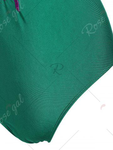 Online Embroidered Crossback Plus Size Swimsuit - XL GREEN Mobile