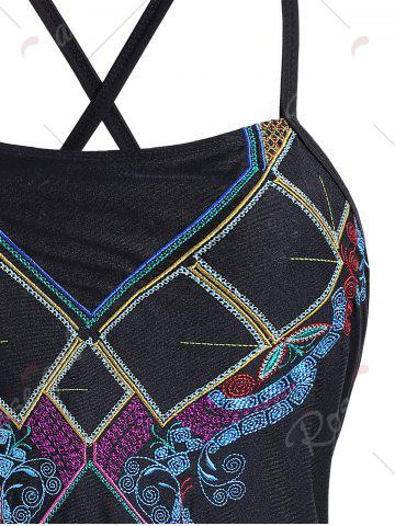 Affordable Lace Up Embroidered Plus Size Swimsuit - XL BLACK Mobile