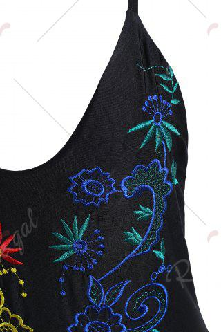 Shops Embroidered Crossback Plus Size Swimsuit - 2XL BLACK Mobile