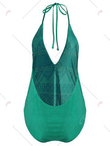 Chic Plus Size Halter Embroidered Swimsuit - XL GREEN Mobile