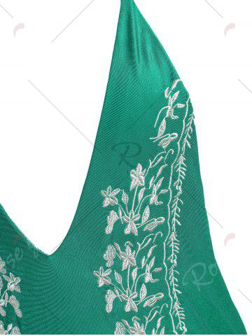 Trendy Plus Size Halter Embroidered Swimsuit - XL GREEN Mobile