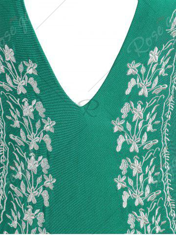 Cheap Plus Size Halter Embroidered Swimsuit - 2XL GREEN Mobile