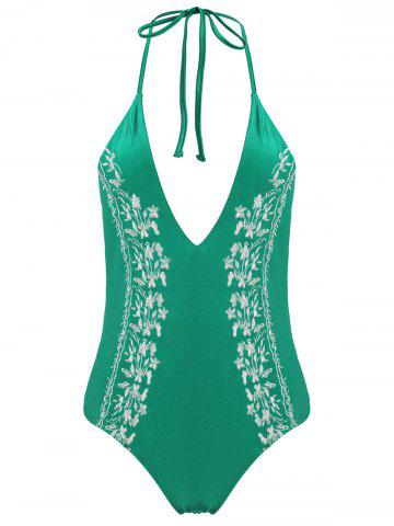 Buy Plus Size Halter Embroidered Swimsuit GREEN 2XL