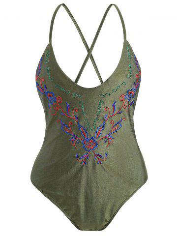 Online Cross Back Embroidered Plus Size Swimsuit - ARMY GREEN 2XL Mobile
