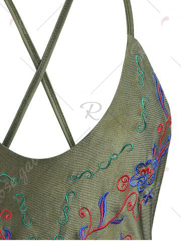 Unique Cross Back Embroidered Plus Size Swimsuit - XL ARMY GREEN Mobile