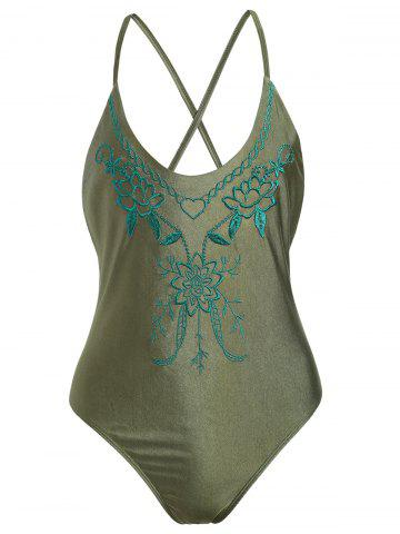 Affordable Cross Back Embroidered Plus Size Swimsuit - XL PEARL ARMY GREEN Mobile