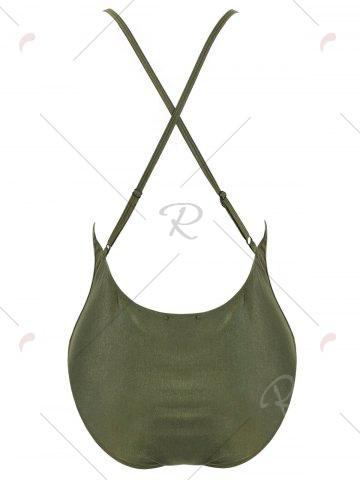Unique Cross Back Embroidered Plus Size Swimsuit - XL PEARL ARMY GREEN Mobile