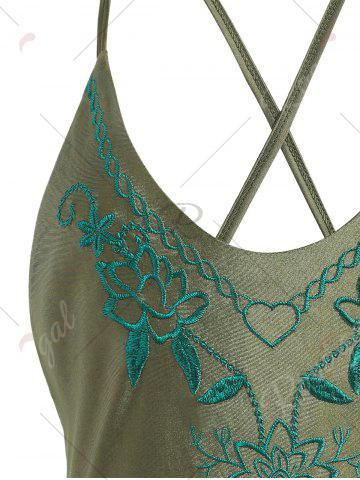 Best Cross Back Embroidered Plus Size Swimsuit - XL PEARL ARMY GREEN Mobile
