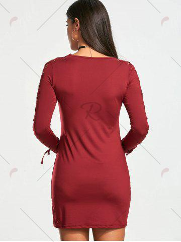 Trendy Lace Up Long Sleeve Mini Bodycon Dress - S WINE RED Mobile