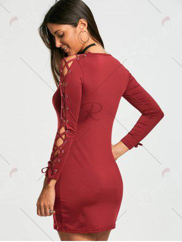 New Lace Up Long Sleeve Mini Bodycon Dress - S WINE RED Mobile