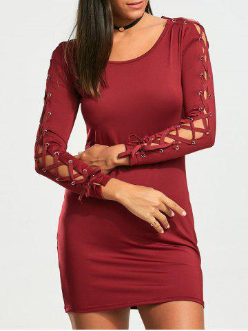 Lace Up Long Sleeve Mini Bodycon Dress - Wine Red - M