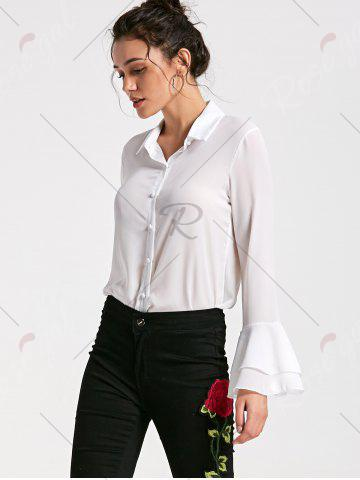 Online Flare Sleeve Sheer Chiffon Blouse - M WHITE Mobile