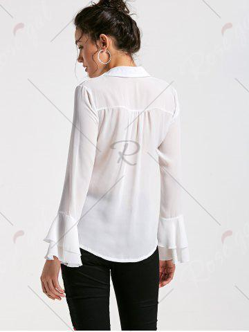 Discount Flare Sleeve Sheer Chiffon Blouse - M WHITE Mobile