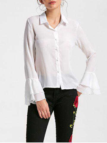 Trendy Flare Sleeve Sheer Chiffon Blouse - M WHITE Mobile