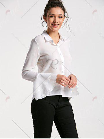 Sale Flare Sleeve Sheer Chiffon Blouse - M WHITE Mobile