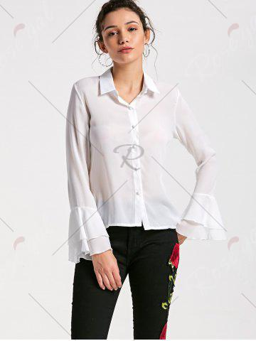 Affordable Flare Sleeve Sheer Chiffon Blouse - L WHITE Mobile